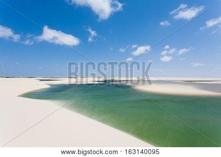 White Sand Dunes Panorama From Lencois Maranhenses National Park, Brazil.