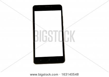 Black modern smart phone with blank screen. Isolated on white background