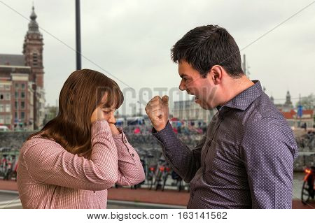 Young Couple Into An Argument