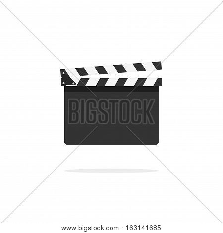 Clapperboard empty template vector icon isolated on white background, flat style clapboard slate filmmaking device, concept of film production symbol, video movie clapper equipment