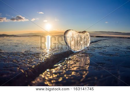 Icy Heart In A Crack In The Light Of Sunset. Lake Baikal