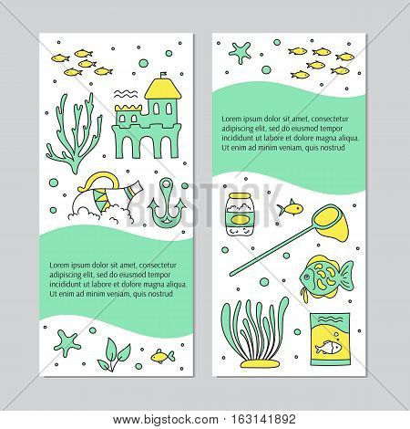 Aquarium care. Vector vertical banner templates. Fish and decoration, food, plants and special equipment. For posters, cards, brochures and invitations, flyers, website and pet shop designs.