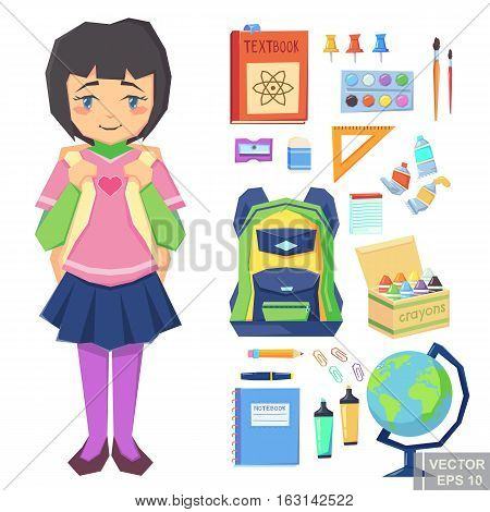 Cute Girl Going To School Education Icons. Set Of Different  Items, Cartoon Vector Illustration.