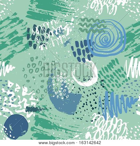 Seamless pattern with hand drawn abstract ink texture with dots, stripes, waves, splashes. Colorful endless vector background.