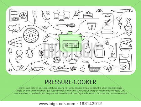 Pressure cookers and accessories. Hand drawn elements. Vector horizontal banner template. Doodle background. For banners and posters, cards, brochures, souvenirs, invitations, website designs.