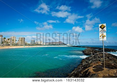 Diamond Head and some Waikiki Beach and hotels as seen from Ala Moana Beach