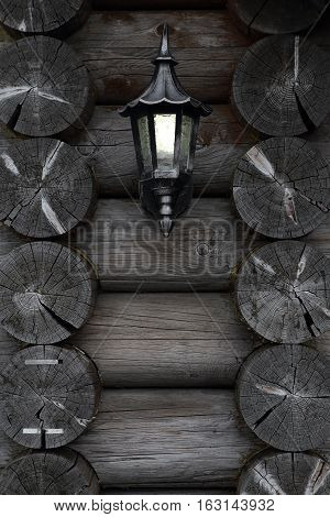 Antique Lamp on wood wall classic vintage background