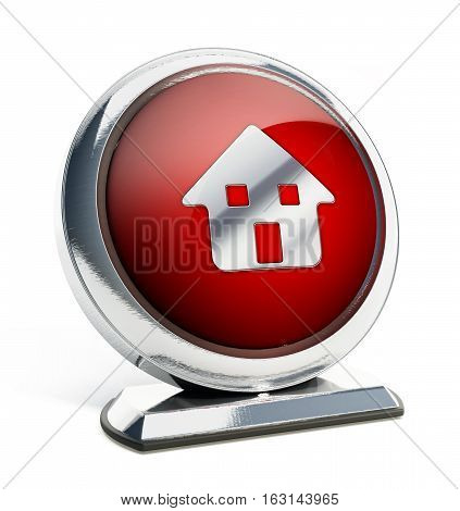 Glossy red button with house symbol. 3D illustration.