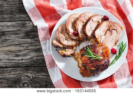 Slices Of Delicious Barbecue Turkey Roulade With Cranberry