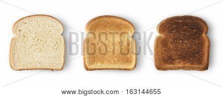 Set of three slices toast bread isolated on white