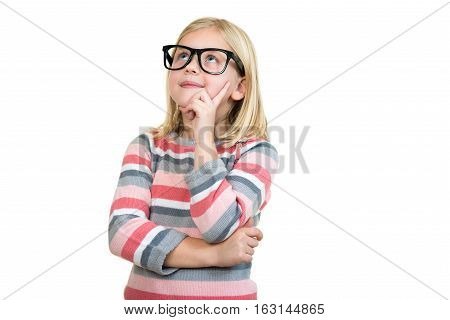Adorable child in glasses thinking isolated on white.