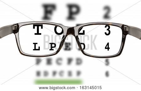 Eyeglasses with eyesight test and partial blur. White backrgound