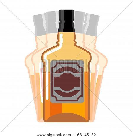 Drunkenness. Whiskey Bottle Seeing Double. Drink Scotch Hallucination. Tequila On White Background.