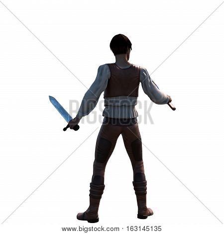a young well-dressed warrior in leather armor. He stands in a combat pose and holding a sword and axe. Back view. 3D rendering, 3D illustration
