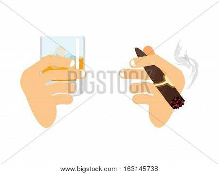 Hand And Whiskey With Ice. Glass Of Scotch, Bourbon. Arm With Cigar Isolated. Men And Holding Smoke