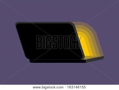 Open Black Laptop Back At Night. Screen Light. Shine Notebook Pc. Portable Computer