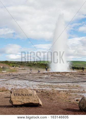 Strokkur Eruption In The Geysir Area, Iceland