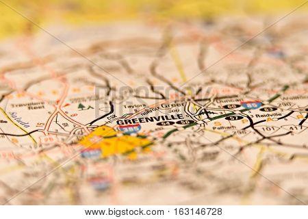 greenville south carolina usa area on a map