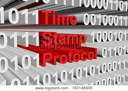 Time stamp protocol in the form of binary code, 3D illustration