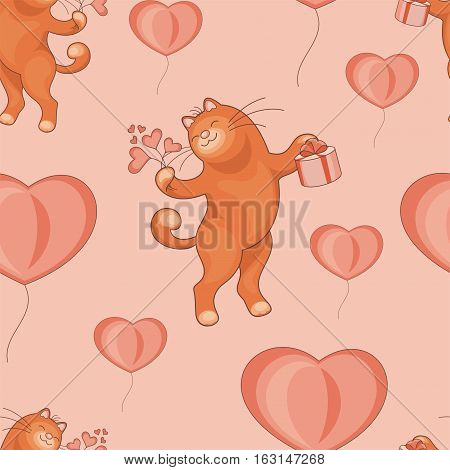 Valentine's day seamless pattern. Cartoon image of cute funny catsand flowers in form of hearts.