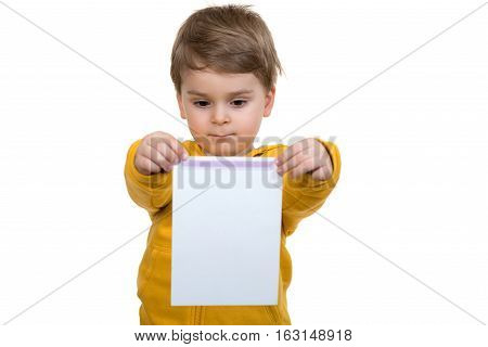 Little boy with empty blank isolated on white.