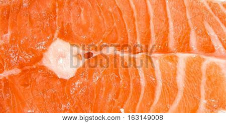 Texture of red fish in the section.