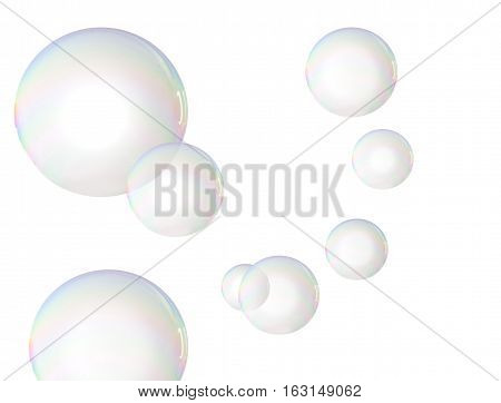 Beautiful rainbow colored soap bubbles over white
