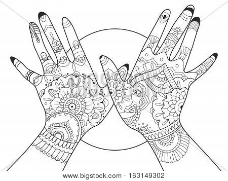 Hands with mehndi drawing coloring book for adults vector illustration. Anti-stress coloring for adult. Tattoo stencil. Zentangle style. Black and white lines. Lace pattern