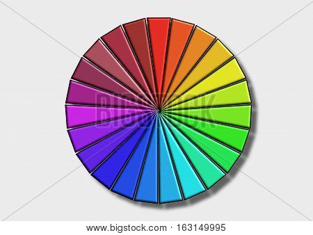 The Colored wheel with shadow on a white background