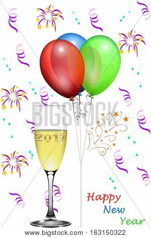 Balloons and confetti and champagne glass and text Happy New Year, new year´s card