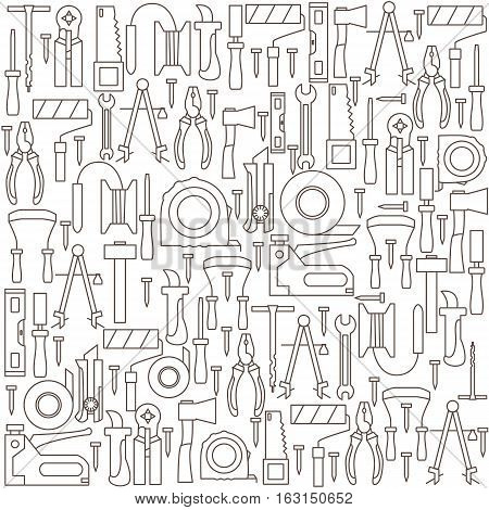 Background with icons of hand tools. Vector illustration.