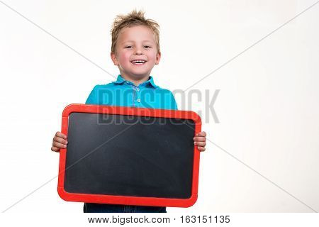 Cheerful Kid with Blank Board Isolated on the White Background.