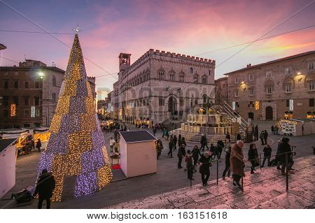 PERUGIA, ITALY - DECEMBER26, 2016: Fontana Maggiore on Piazza IV Novembre at christmas time in Perugia, Umbria, Italy