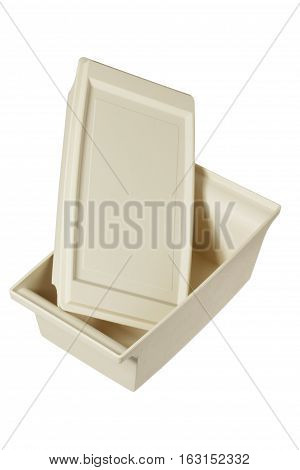 Plastic Empty Lunch Box on White Background