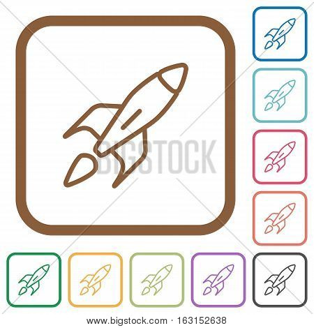 Launched rocket simple icons in color rounded square frames on white background