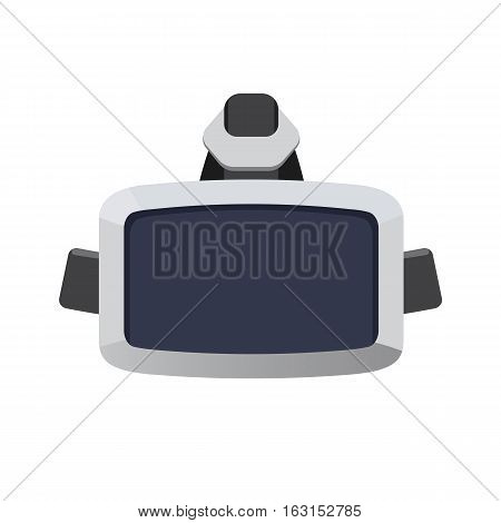 Original stereoscopic 3d vr headset isolated on white. Virtual reality headset provides immersive virtual reality for wearer. Used with computer games, simulators and trainers. Vector illustration