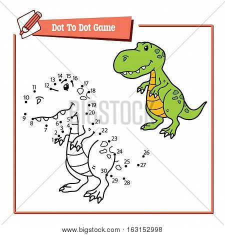 Vector illustration of dot to dot educational  puzzle game with happy cartoon dino for children