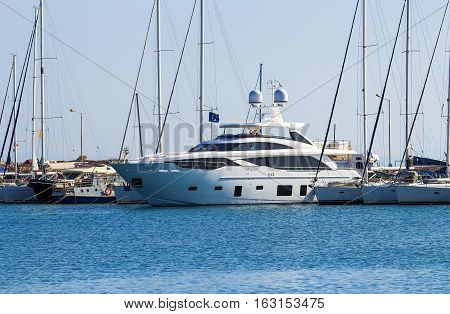 luxury yacht in the Dodecanese island of Rhodes