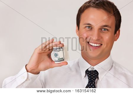Young Emotional Man In A Business Suit
