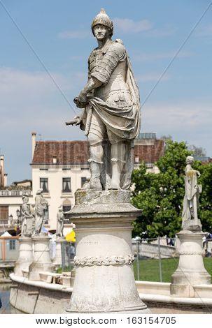 PADUA, ITALY - MAY 3, 2016: Statues on Piazza Prato della Valle Padua Italy.