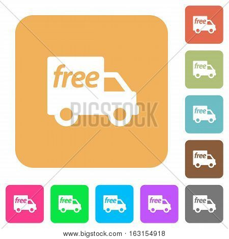 Free shipping icons on rounded square vivid color backgrounds.