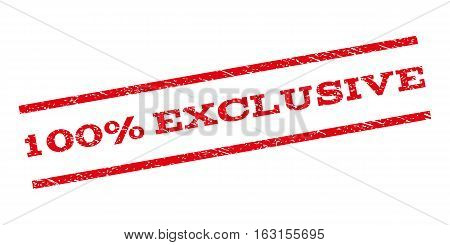 100 Percent Exclusive watermark stamp. Text tag between parallel lines with grunge design style. Rubber seal stamp with dirty texture. Vector red color ink imprint on a white background.