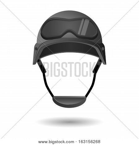 Army helmet with glasses. Military flight helicopter helmet isolated on white background. Protective goggles on hard hat. Fighter headwear uniform. Cap of aviator in cartoon style. Vector illustration