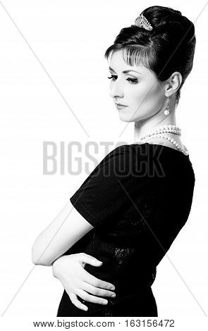 Vintage  Portrait Of A Beautiful Young Elegant Woman.