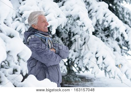 mature man in good mood, fir trees on background