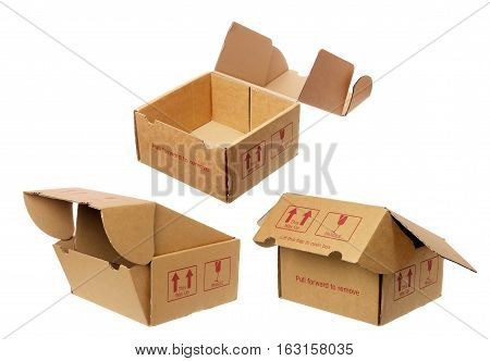 Used Ripped Cardboard Boxes on White Background