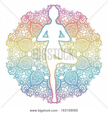 Mandala round background. Women silhouette. Yoga tree pose. Vrikshasana. Vector illustration