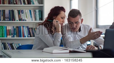 Beautiful Redhead Girl And Handsome Blond Guy Working On A Project In The Library Office Discussing