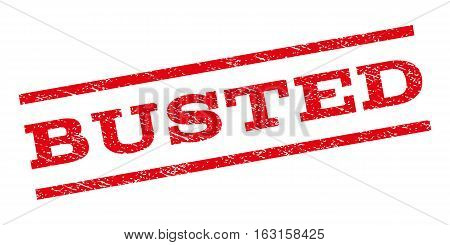 Busted watermark stamp. Text tag between parallel lines with grunge design style. Rubber seal stamp with dirty texture. Vector red color ink imprint on a white background.