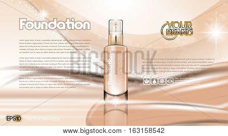 Glamorous foundation ads. Glass bottle and sparkling effects background. Elegant golden lable for design, template, . Mockup 3D Realistic Vector illustration